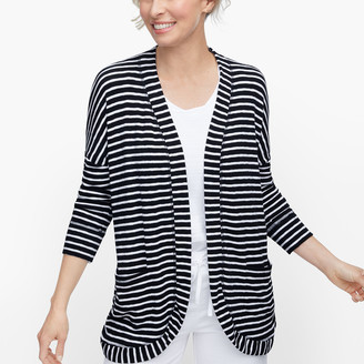 Talbots Soft French Terry Open Cardigan - Stripe
