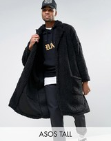 Asos Tall Oversized Borg Duster Coat In Black