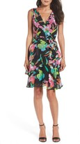 Tahari Petite Women's Faux Wrap Chiffon Dress