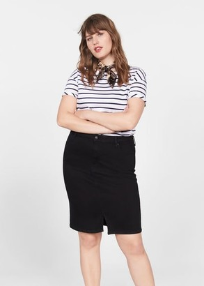 MANGO Violeta BY Denim skirt black denim - XL - Plus sizes