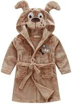 BELLE-LILI Kids Girls Fleece Robe Cotton Animal Dinosaur Hooded Bathrobe (3T-4T, )