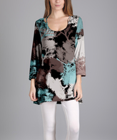 Lily Brown & Teal Trees Scoop Neck Tunic - Plus Too