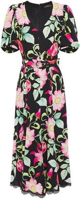 Andrew Gn Belted Eyelash-trimmed Floral-print Silk-crepe Midi Dress