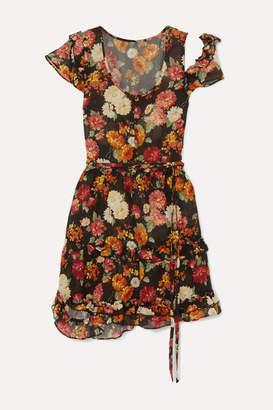 R 13 Cutout Ruffled Floral-print Wool Mini Dress - Black
