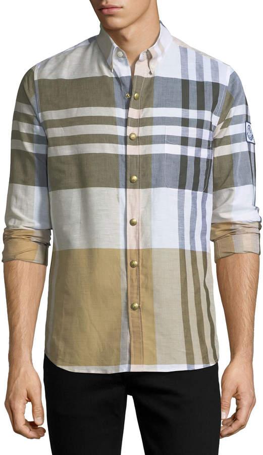 Moncler Gamme Bleu Macro-Check Snap-Front Shirt