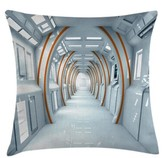 """Futuristic Hallway Of Spaceship Indoor / Outdoor 36"""" Throw Pillow Cover East Urban Home"""