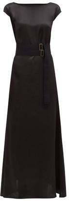 Albus Lumen - Inez Boat-neck Belted Silk-satin Dress - Womens - Black