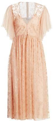 RED Valentino Beaded Floral Tulle Dress