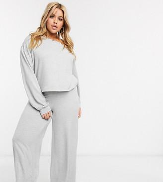 Loungeable plus size wide leg trouser in grey