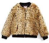 Design History Girl's Faux Fur Bomber Jacket