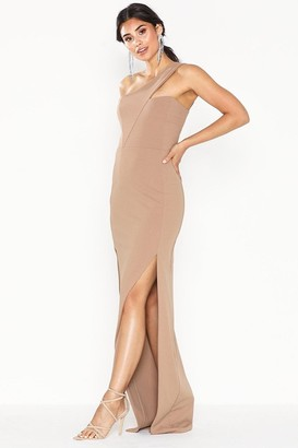 Honor Gold Melissa Mocha One Shoulder Maxi Dress With Front Split