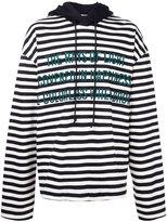 Juun.J striped text detail hoodie - men - Cotton - 46
