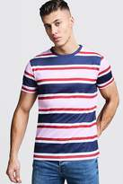 Short Sleeve Stripe T-Shirt With Future Embroidery