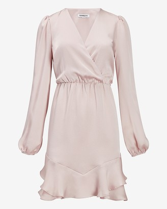 Express Satin Ruffle Hem Wrap Front Dress