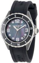 Akribos XXIV Women's AK502BK Ceramic Case with Silver Accents and Black Rubber Strap Watch