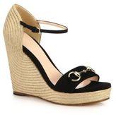 Gucci Carolina Suede Espadrille Wedge Sandals