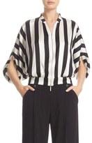 Armani Collezioni Stripe Stretch Silk Top