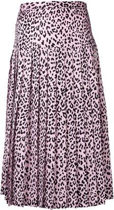 Alessandra Rich Leopard Print Pleated Skirt