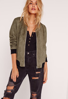 Missguided Contrast Rib Faux Suede Bomber Jacket Khaki