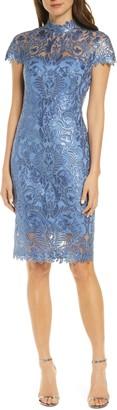 Tadashi Shoji Sequin Lace Mock Neck Sheath Dress