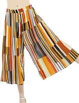 ZANLICE Women's Stripe Elastic Waistband Pleats Wide Leg Pants Culottes