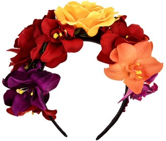 BESTOYARD Bohemia Floral Headband Rose Flower Crown Mexican Headpiece for Beach Party Vacation Photography
