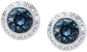 Swarovski Silver-Tone Crystal Halo Stud Earrings