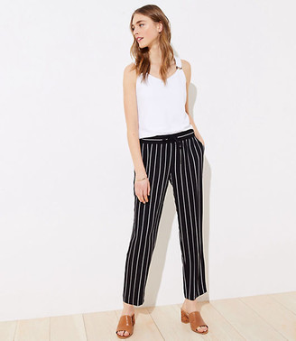 LOFT Striped Tapered Drawstring Pants