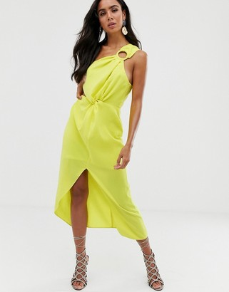 ASOS DESIGN midi dress with one shoulder ring detail and hitched waist