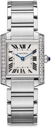 Cartier Tank Francaise de Medium Stainless Steel & Diamond Bracelet Watch