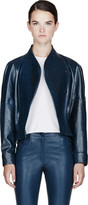 Thierry Mugler Peacock Blue Patent Bomber Jacket