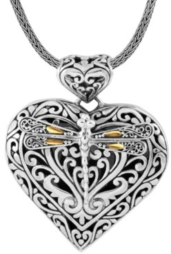 On Sweet Dragonfly Love Potion Sterling Silver Pendant Necklace Embellished by 18K Gold Accents 4 Strips of Dragonfly's Wings