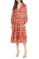 Alice + Olivia Layla Floral Long Sleeve Tiered Ruffle Cotton & Silk Dress