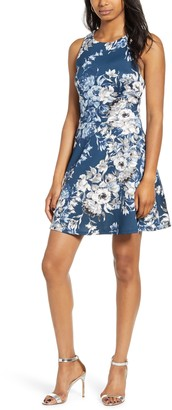 Speechless Floral Print Open Back Fit & Flare Dress