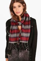 boohoo NEW Womens Alana Plaid Tartan Scarf in Red size One Size