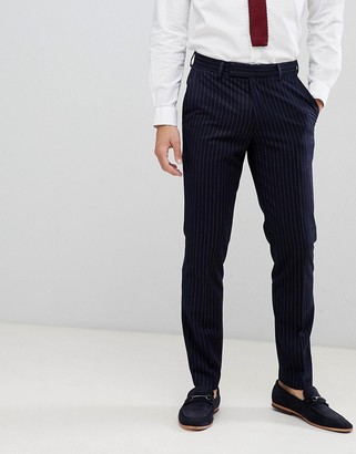 French Connection Slim Pinstripe Suit Pants-Navy