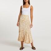 Thumbnail for your product : River Island Womens Yellow snake print hanky hem skirt