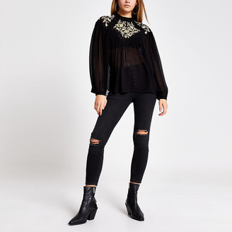 River Island Black embroidered long sleeve sheer blouse
