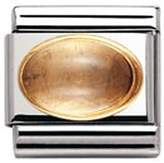 Nomination Composable Classic Semi Precious Stone Oval made of Citrinee, Stainless Steel and 18K Gold