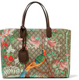 Gucci Leather-trimmed Printed Coated-canvas Tote - Beige