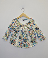 Takara Ivory & Lace Floral Top - Girls