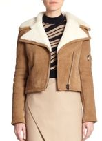 Carven Suede Shearling-Lined Moto Jacket