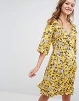 Monki Ditsy Floral Print Ruffle Wrap Dress