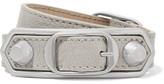 Balenciaga Triple Tour Textured-leather And Silver-tone Bracelet - Light gray