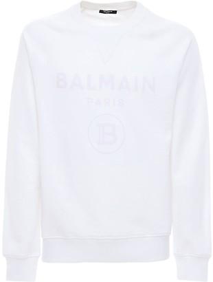 Balmain Flocked Logo Cotton Jersey Sweatshirt