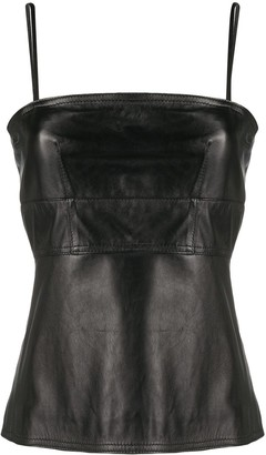 Manokhi Valeria leather sleeveless top