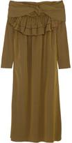 Isa Arfen Off-the-shoulder Striped Cotton Dress - Sage green