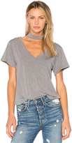 LnA Deep V Choker Tee in Gray