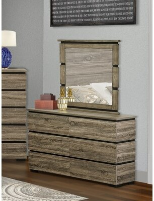 Millwood Pines Jens Solid Wood 6 Drawer Double Dresser with Mirror
