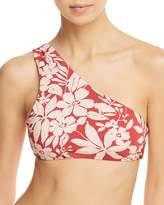 Red Carter Shirred One-Shoulder Bikini Top